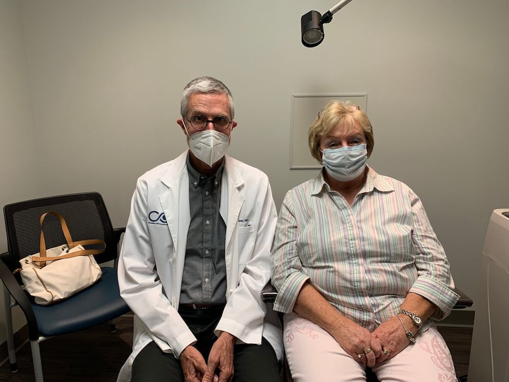 Dr. Hickey and a happy patient