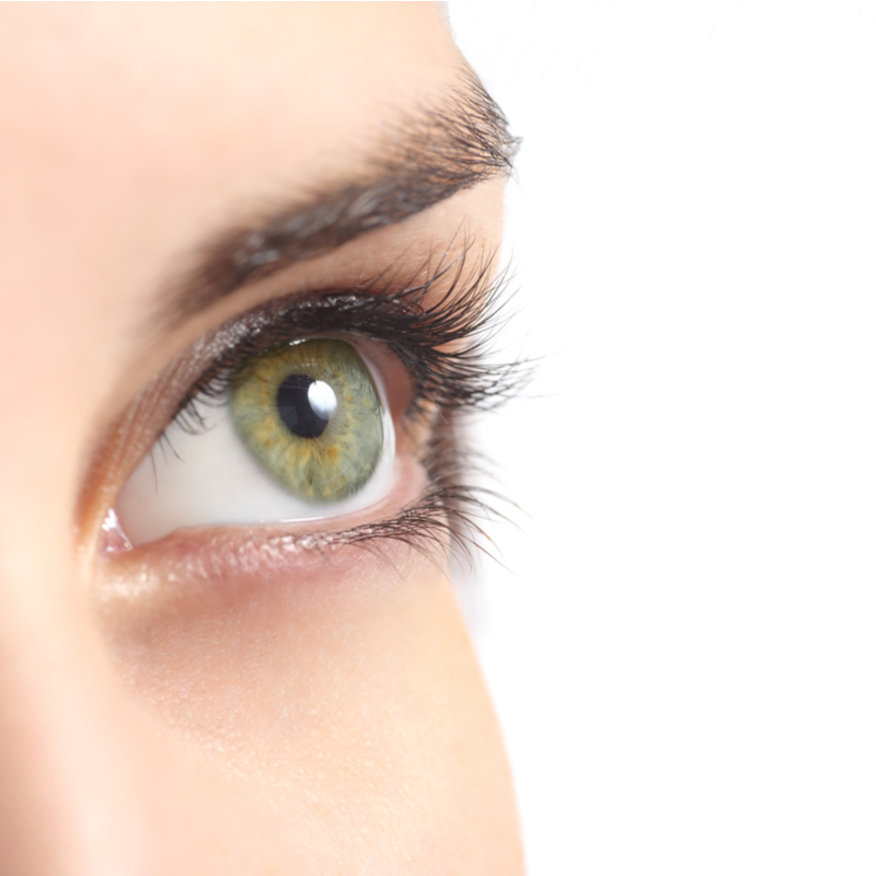 close up of young woman's eye