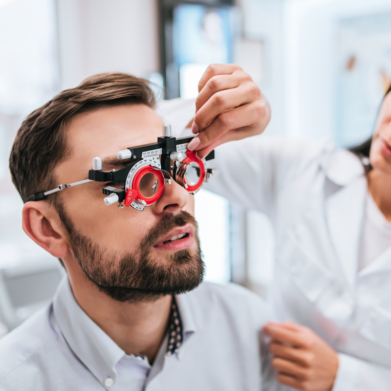 Eye exam for young man
